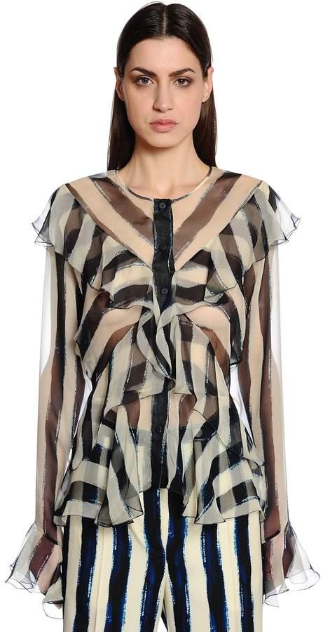 Alberta Ferretti Ruffled & Striped Silk Chiffon Shirt