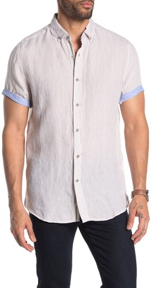 Report Collection Solid Short Sleeve Linen Shirt