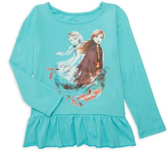 Disney Little Girl's Graphic Elsa & Anna Cotton Long-Sleeve Tee