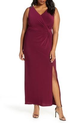 Alex Evenings Jeweled Shoulder Twist Front Gown