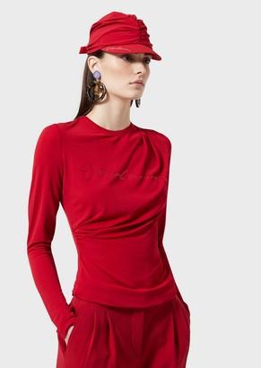 Giorgio Armani Sweater With Logo, Draping And Shiny Lame