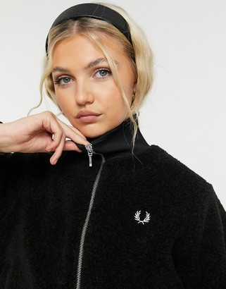 Fred Perry teddy bomber jacket in black