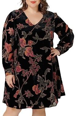Marée Pour Toi Floral Velvet Trapeze Dress