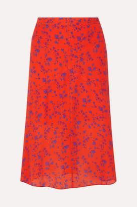 McQ Floral-print Silk-georgette Midi Skirt - Orange