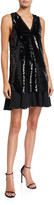 Emporio Armani Sequin Sleeveless Tunic Dress with Chiffon Skirt