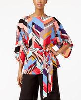 ECI Printed Kimono-Sleeve Tie-Waist Blouse
