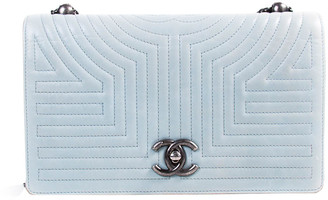 Chanel Light Blue Aged Calfskin Stitched Leather Flap Shoulder Bag