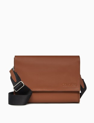 Calvin Klein Refined Leather Messenger Bag