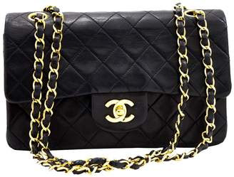 Chanel Black Lambskin Leather Double Flap Chain Shoulder Bag