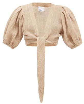 Lisa Marie Fernandez Tie-front Puff-sleeve Linen-blend Gauze Blouse - Womens - Beige
