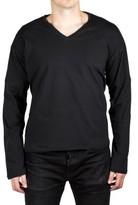 Prada Men's Jersey Cotton Logo Crew Neck Long Sleeve T-Shirt Black