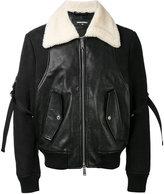 DSQUARED2 shearling collar jacket - men - Cotton/Calf Leather/Polyamide/Lama Fur - 48