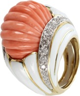 David Webb Carved Coral Ring with Diamonds