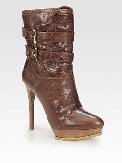 MICHAEL Michael Kors Mae Leather Buckle Ankle Boots