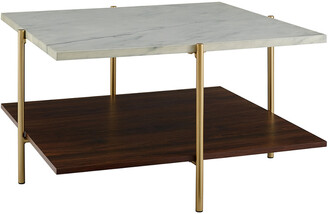 Hewson 32In Glam Square Faux Marble Coffee Table