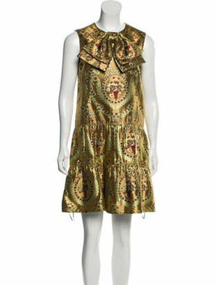 Gucci Floral Jacquard Dress Gold