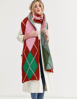 Asos Design DESIGN knitted argyle long scarf-Multi