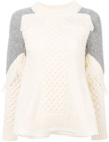 Sacai colour block fray knit sweater - women - Polyester/Wool - 2