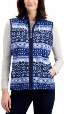 Karen Scott Petite Fairisle Zeroproof Zip-Front Vest, Created for Macy's