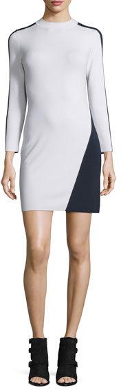 Rag & Bone Cecilee Long-Sleeve Colorblock Sheath Dress, Ivory