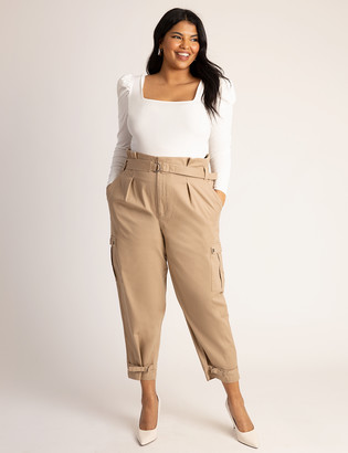 ELOQUII High Waisted Cargo Pant with Ankle Ties