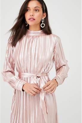 Forever Unique U Collection Long Sleeve Plisse Maxi Dress - Rose Gold