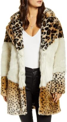 Blank NYC Weekend Vibes Mixed Print Faux Fur Coat