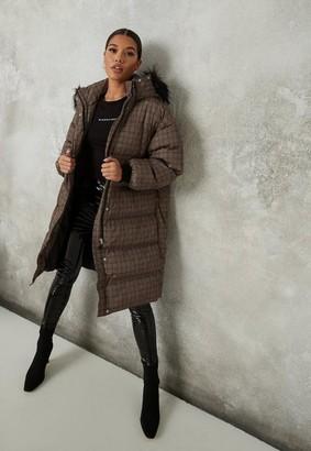 Missguided Brown Plaid Faux Fur Hood Puffer Coat