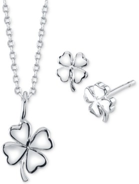 Unwritten Mini Clover Pendant Necklace and Stud Earrings in Fine Silver-Plate Set, Created for Macy's