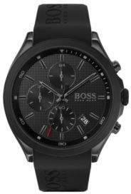 BOSS Black-plated chronograph watch with black logo strap