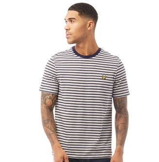 Lyle And Scott Vintage Mens Stripe T-Shirt Z99 Navy