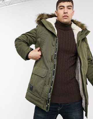 Hollister all weather faux fur lined hooded parka in olive green