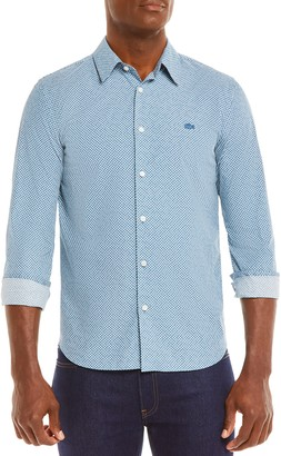 Lacoste Slim Fit Tennis Ball Print Button-Up Shirt