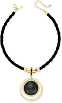INC International Concepts Silver-Tone Faux-Suede Pendant Necklace, Only at Macy's