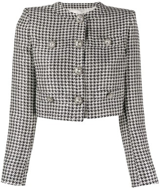 Alessandra Rich Cropped Sequin Houndstooth Jacket