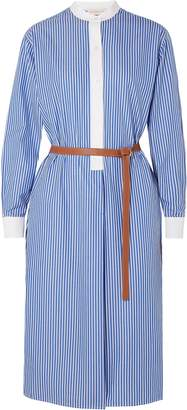 Tory Burch Spencer Belted Striped Cotton-poplin Dress