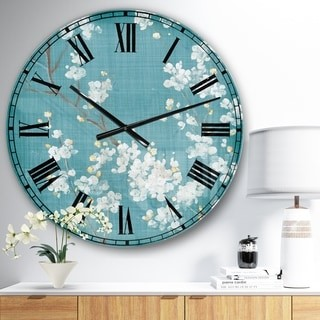 Design Art Designart 'Blue Cherry Blossoms I' Cabin & Lodge Wall CLock