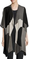 Caroline Rose Geo Georgette Cardigan, Multi/Black
