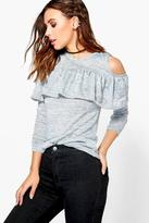 Boohoo Petite Sophie Cold Shoulder Frill Knitted Top