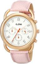 A Line a_line Women's AL-80012-YG-02-PN Maya Chronograph Silver Dial Light Pink Leather Watch