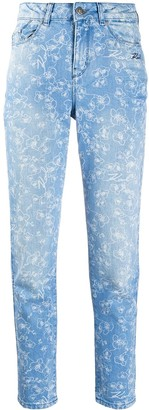 Karl Lagerfeld Paris Orchid-Print High-Rise Slim Jeans