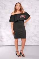 Yours Clothing LIMITED COLLECTION Black Bardot Dress With Embroidered Frill Panel