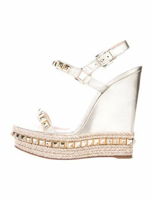 Christian Louboutin Leather Studded Accents Espadrilles Silver