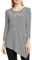 Vince Camuto Womens Striped Asymmetric Tunic Top