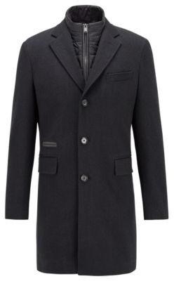 BOSS Wool-blend coat with detachable zip-through inner