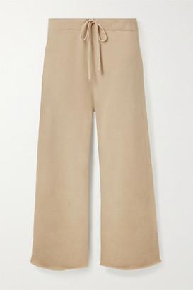 Nili Lotan Kiki Cropped Cotton-jersey Track Pants - Beige