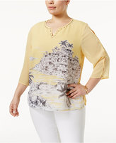 Alfred Dunner Plus Size Seas the Day Collection Scenic-Print Studded Blouse