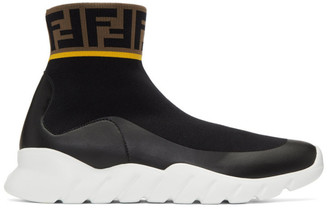 Fendi Black and White Tech Knit Forever High-Top Sneakers