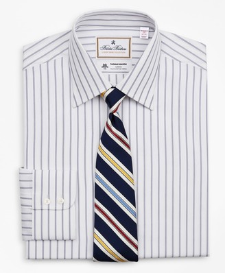 Brooks Brothers Luxury Collection Madison Classic-Fit Dress Shirt, Franklin Spread Collar Micro-Outline Stripe