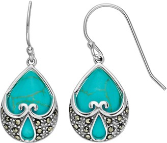 Tori Hill Sterling Silver Simulated Turquoise & Marcasite Dangle Earrings